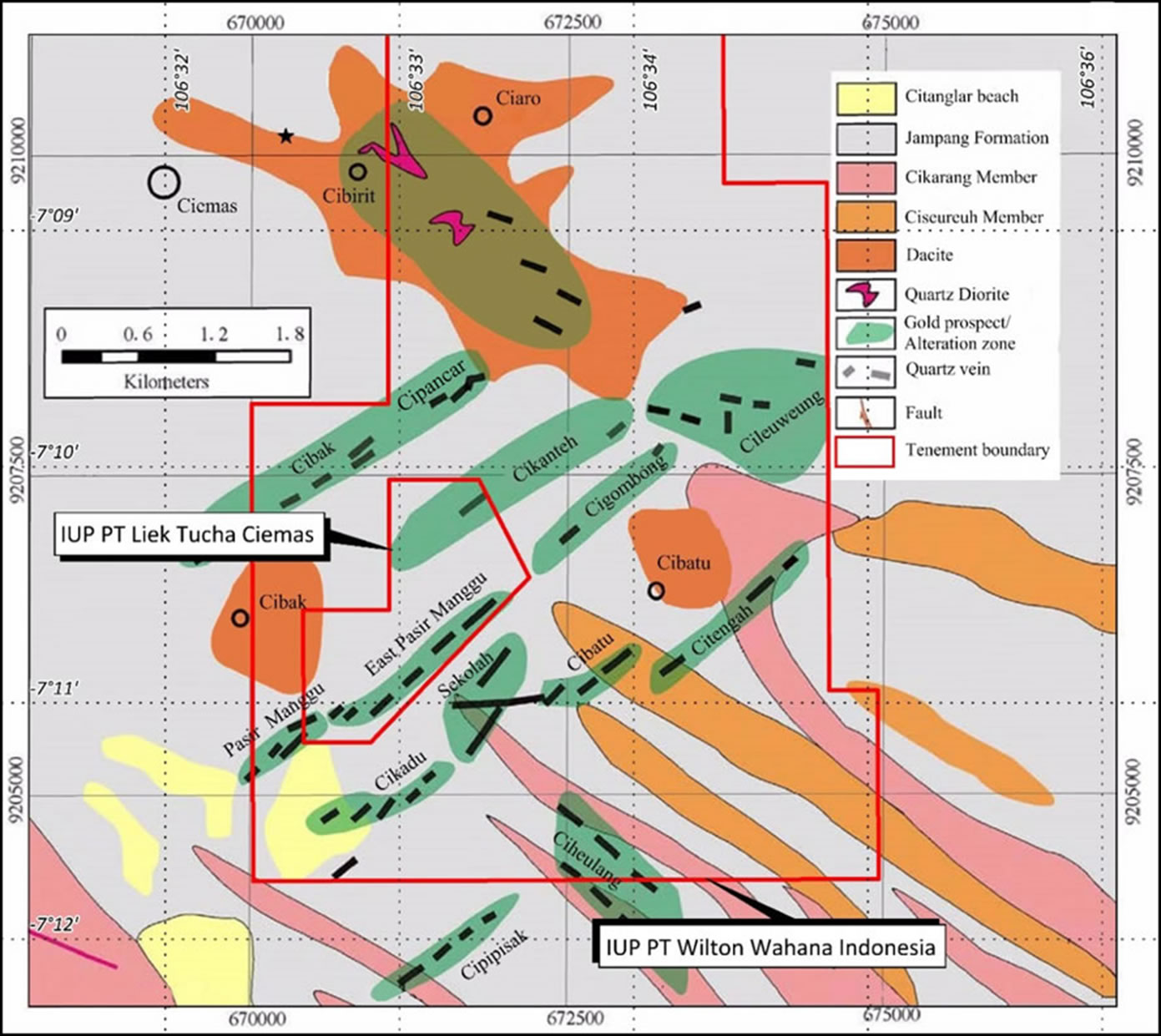 Distribution of Main Mineralised Zones of Ciemas Gold Project